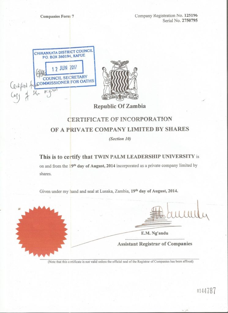 Certificate of Registration PACRA